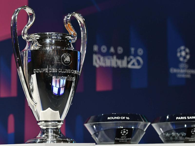 The UEFA Champions League football trophy: AFP via Getty Images