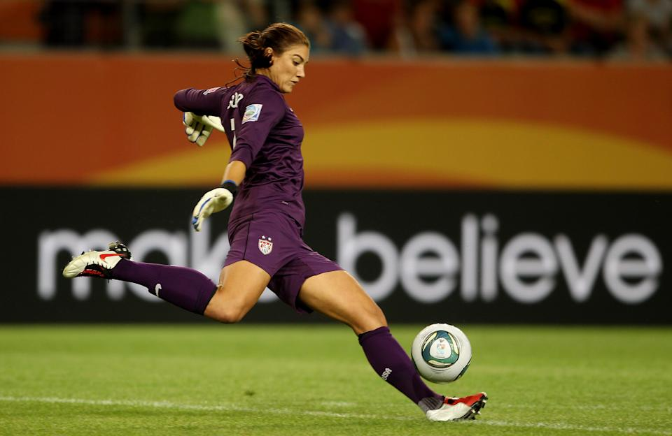 Hope Solo of USA during the FIFA Women's World Cup 2011 at the Arena In Allerpark on July 6, 2011 in Wolfsburg, Germany. (Photo by Scott Heavey/Getty Images)