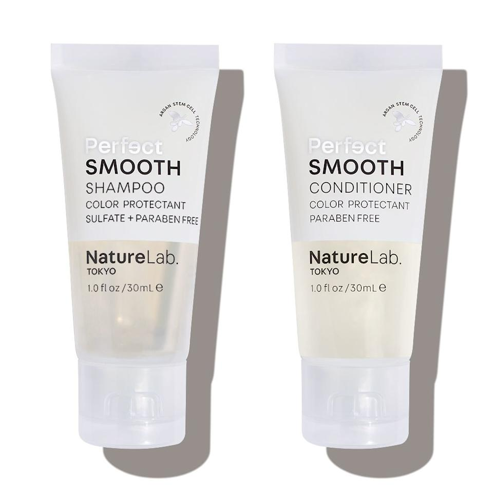 """<p><strong>Value:</strong> $14 each</p> <p>""""This duo won a Best of Beauty Award in 2018 for calming frizz on every texture. (They're <a href=""""https://www.allure.com/story/best-sulfate-free-shampoos?mbid=synd_yahoo_rss"""">sulfate-free</a>, so also great for color-treated hair.) A year and change later, I'm still obsessed with these for smoothing my fine, flyaway-prone hair. I used them recently after a weeklong beach vacation, and they made my hair look so healthy and shiny, you'd never know I'd spent hours in the sun and chlorine. I love the scent — warm and citrusy — and how the formulas don't weigh my hair down at all. That's especially impressive given that they're powered by so many hydrating, shine-boosting ingredients: argan, baobab, and marula oils, and detangling and smoothing ceramides. Plus, the shampoo and conditioner are vegan and cruelty-free and the formulas don't contain parabens or phthalates."""" — <em>Elizabeth Siegel, deputy beauty director</em></p> <p><strong><a href=""""https://subscribe.allure.com/subscribe/allure/111596?source=EDT_ALB_SEPTEMBER_2019_GALLERY_UNBOXING_NatureLab"""">+ Subscribe Now +</a></strong></p>"""