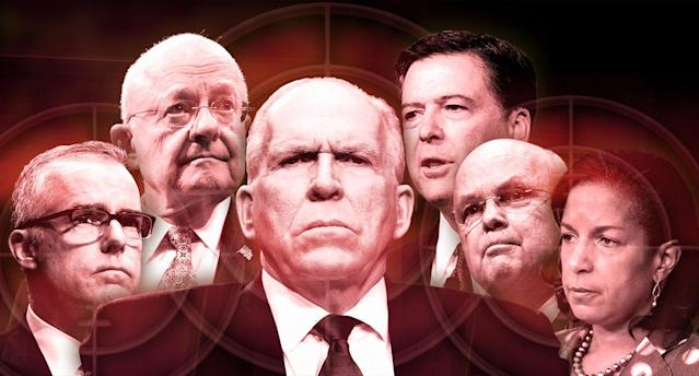 From left: Andrew McCabe, James Clapper, John Brennan, James Comey, Michael Hayden and Susan Rice. (Photo illustration: Yahoo News; photos: AP)