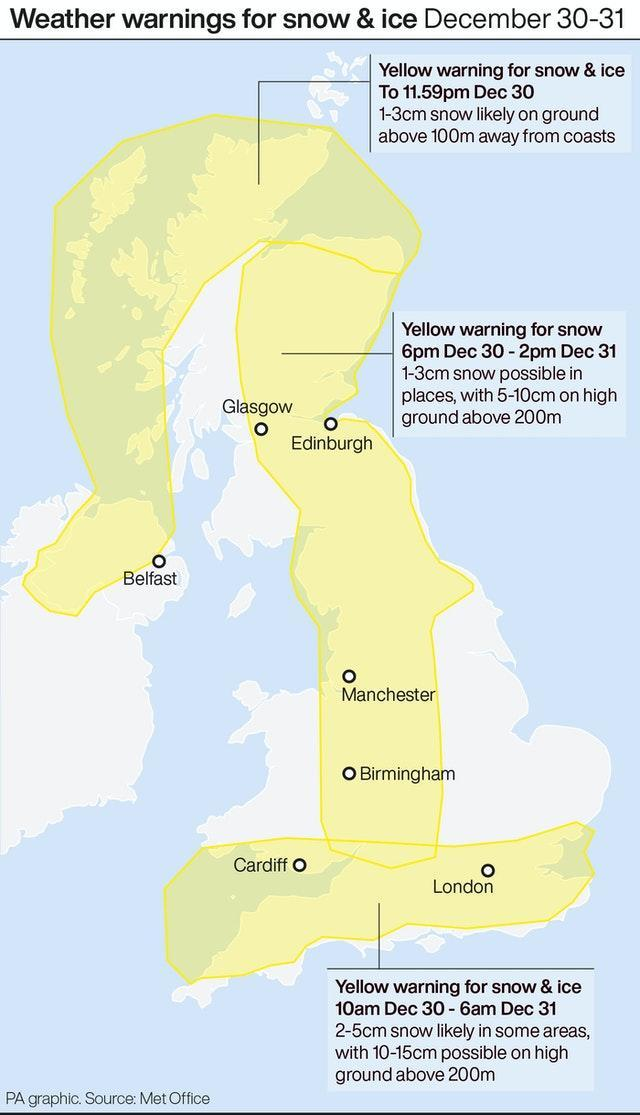 Weather warnings for snow and ice