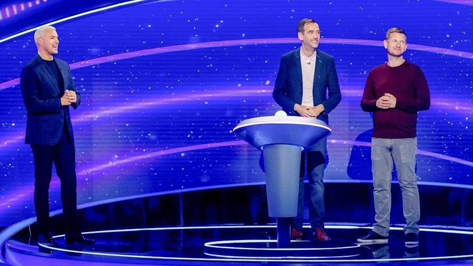 Paddy McGuinness with two contestants on I Can See Your Voice
