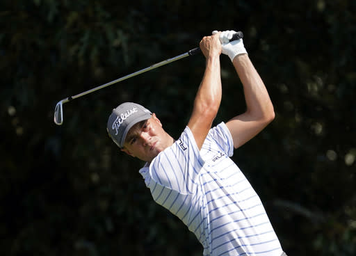 FILE - In this Sept. 6, 2020, file photo, Justin Thomas hits from the tee on the third hole during the third round of play in the Tour Championship golf tournament at East Lake Golf Club in Atlanta. Thomas is a leading contender for the U.S. Open, which starts Sept. 17, 2020, at Winged Foot Golf Club in Mamaroneck, N.Y. (AP Photo/John Bazemore, File)