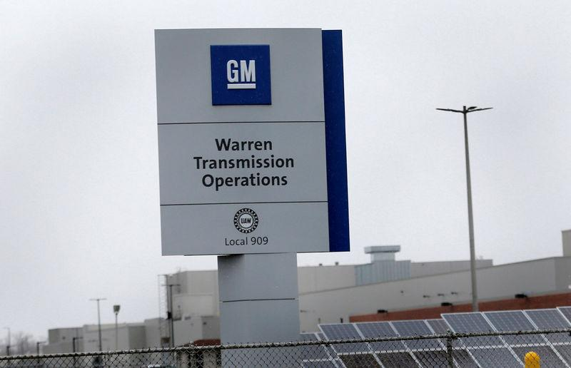 A sign for General Motors Warren Transmission Operations plant is seen in Warren