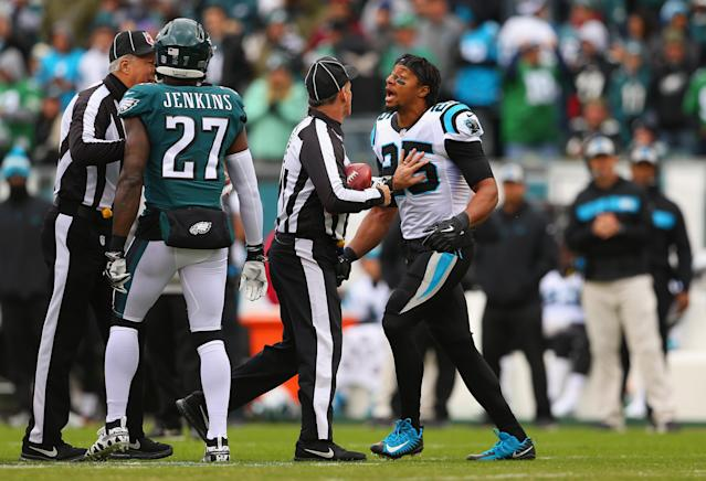 Carolina's Eric Reid had some words for Philadelphia's Malcolm Jenkins before Sunday's game. (Getty Images)