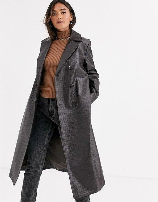 """<br><br><strong>ASOS DESIGN</strong> Dark Brown Croc trench Coat, $, available at <a href=""""https://www.asos.com/asos-design/asos-design-croc-trench-coat-in-dark-brown/prd/11870561?clr=dark-brown&colourWayId=16441627&SearchQuery=trench%20coat%20women"""" rel=""""nofollow noopener"""" target=""""_blank"""" data-ylk=""""slk:ASOS"""" class=""""link rapid-noclick-resp"""">ASOS</a>"""