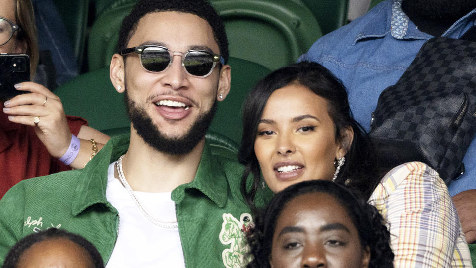 Ben Simmons and Maya Jama, pictured here at Wimbledon in July.