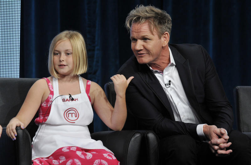 """Sarah, a contestant on the FOX show """"Master Chef Junior,"""" gestures to judge/executive producer Gordon Ramsay during a panel discussion on the show at the FOX 2013 Summer TCA press tour at the Beverly Hilton Hotel on Thursday, Aug. 1, 2013 in Beverly Hills, Calif. (Photo by Chris Pizzello/Invision/AP)"""