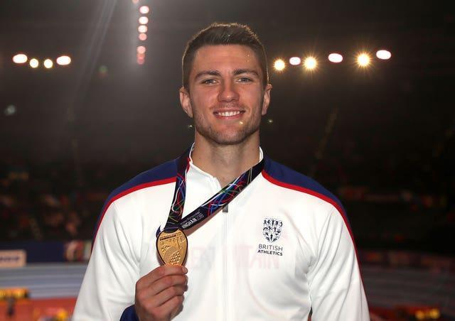 Andrew Pozzi with his gold medal from the 2018 Indoor World Championships