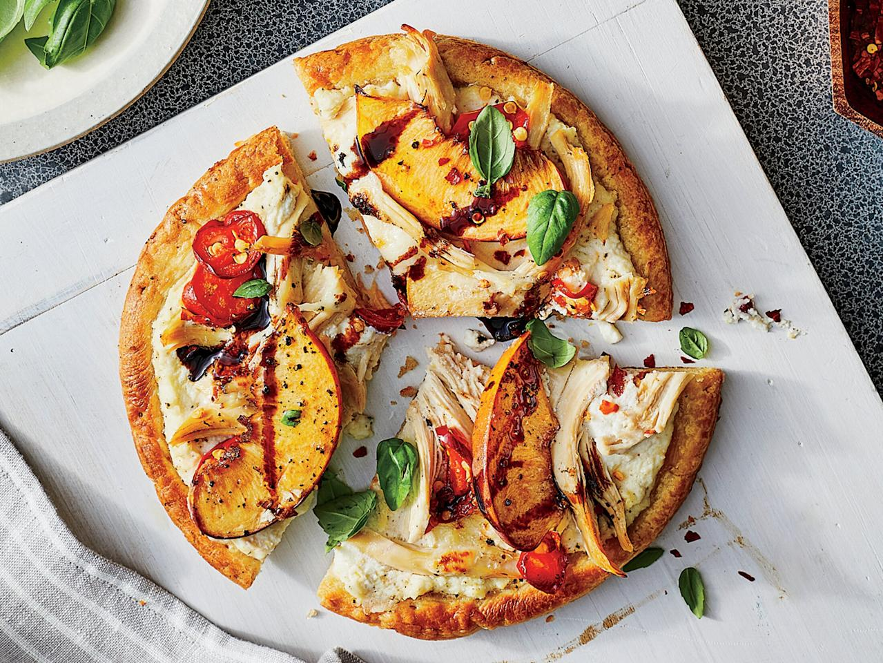 "<p>Premade pizza crusts are a lifesaver for the busy weeknight cook. Here they provide a filling base for these outside-the-box pizzas. To make your own balsamic glaze, simmer down 1/2 cup balsamic vinegar until thick and syrupy, about 5 minutes.</p> <p><a href=""https://www.myrecipes.com/recipe/chicken-and-peach-flatbreads"">Chicken and Peach Flatbreads Recipe</a></p>"