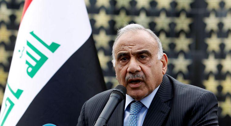 FILE PHOTO: Iraqi Prime Minister Adel Abdul Mahdi speaks during a symbolic funeral ceremony of Major General Ali al-Lami, who commands the Iraqi Federal Police's Fourth Division, who was killed in Salahuddin, in Baghdad, Iraq October 23, 2019.