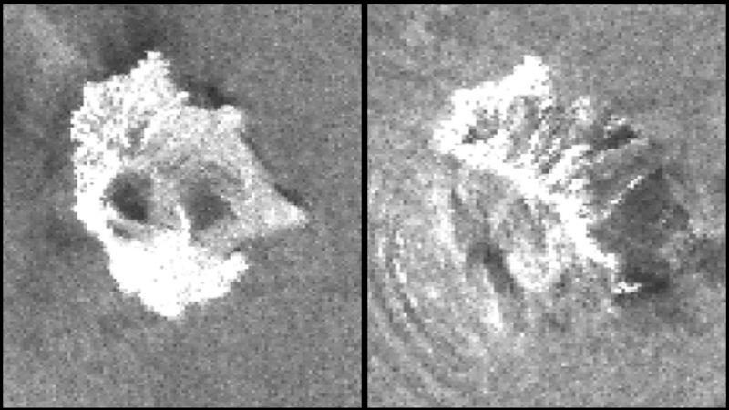 Left: Radar image of Anak Krakatau volcano before the eruption on December 22, 2018. Right: The volcano after the eruption on December 24, 2018.