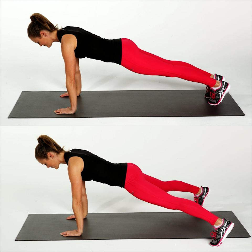<ul> <li>Begin in the plank position with your shoulders over your wrists, your body in one straight line, and your feet together. Pull your core toward your spine.</li> <li>Jump your legs wide apart, similar to the motion of a jumping jack. Land softly, engaging your core throughout.</li> <li>Jump your feet back together at center.</li> <li>This counts as one rep. Complete for 10 reps.</li> </ul>