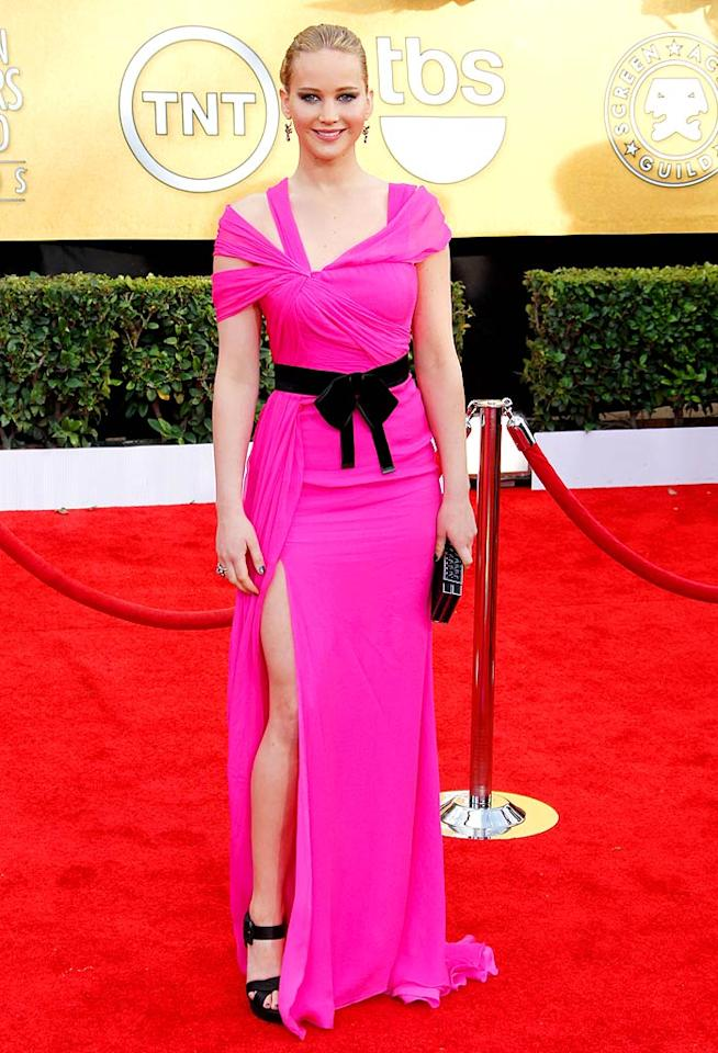 "<b>Jennifer Lawrence:</b> The ""Winter's Bone"" actress might have been a red carpet newbie at the SAG Awards this year, but she looked like a style veteran in this hot pink Oscar de la Renta dress. So chic! (01/30/2011)"