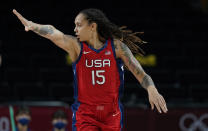 United States' Brittney Griner (15) reacts during women's basketball preliminary round game against Nigeria at the 2020 Summer Olympics, Tuesday, July 27, 2021, in Saitama, Japan. (AP Photo/Eric Gay)