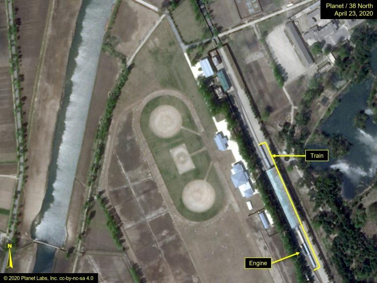 Satellite photos show the train at a station reserved for the family of Kim Jong Un in Wonsan.