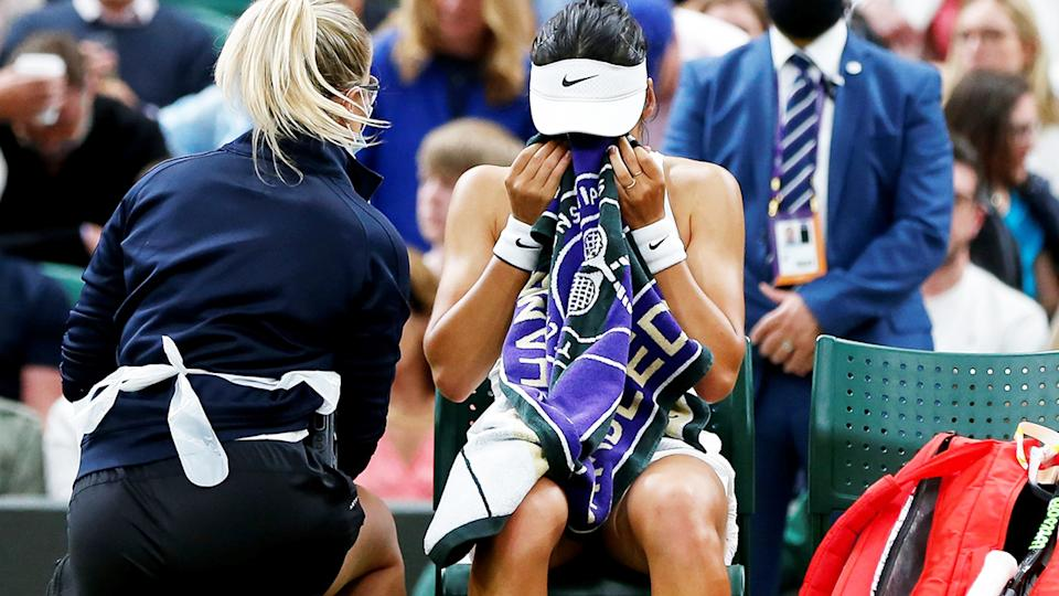Emma Raducanu, pictured here in tears during a medical timeout at Wimbledon.
