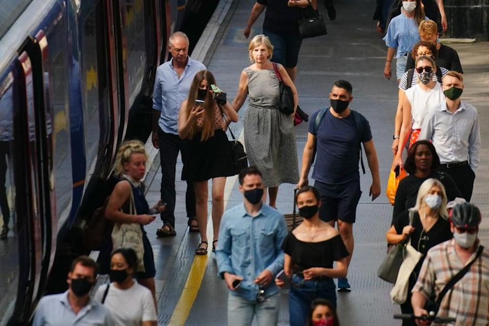 Figures show demand for rail travel has reached two-thirds of normal levels for the first time during the pandemic (PA) (PA Wire)