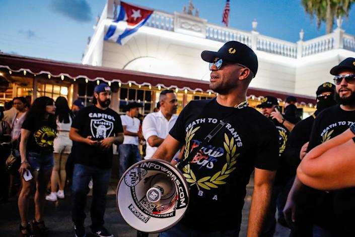 Proud Boys leader Enrique Tarrio attends a protest in July 2021.  (AFP via Getty Images)