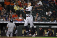 Cleveland Indians' Cesar Hernandez celebrates his solo home run during the seventh inning of a baseball game against the Houston Astros, Wednesday, July 21, 2021, in Houston. (AP Photo/Eric Christian Smith)