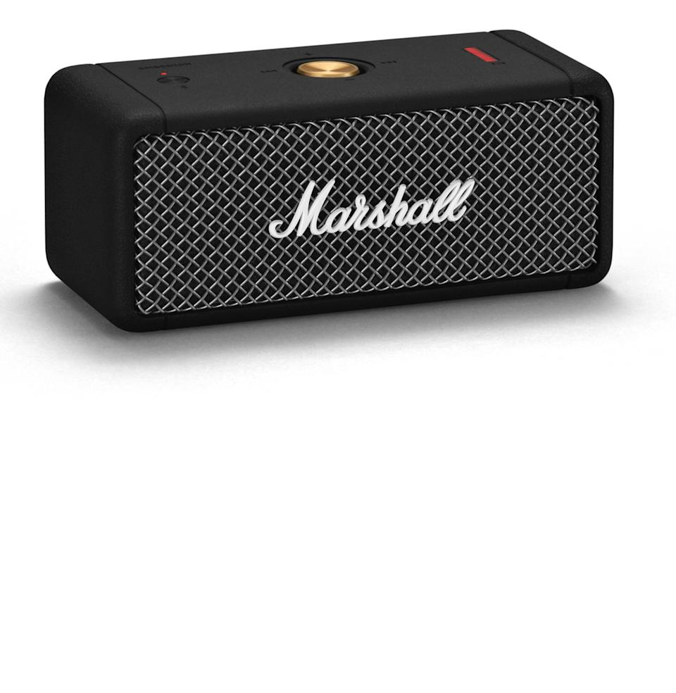"""<p><strong>Marshall</strong></p><p>amazon.com</p><p><strong>$149.99</strong></p><p><a href=""""https://www.amazon.com/dp/B08G52JFFQ?tag=syn-yahoo-20&ascsubtag=%5Bartid%7C10054.g.22141607%5Bsrc%7Cyahoo-us"""" rel=""""nofollow noopener"""" target=""""_blank"""" data-ylk=""""slk:Buy"""" class=""""link rapid-noclick-resp"""">Buy</a></p><p>This speaker is waterproof and carries a charge for 20-plus hours. But it's the deeply cool design—from the amplifier-inspired grill to the gold control knob—that makes it one of <a href=""""https://www.esquire.com/lifestyle/g27555291/best-waterproof-bluetooth-speakers/"""" rel=""""nofollow noopener"""" target=""""_blank"""" data-ylk=""""slk:our favorites"""" class=""""link rapid-noclick-resp"""">our favorites</a>.</p>"""