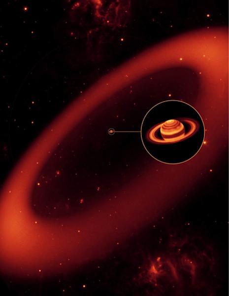 This artist's conception shows how Saturn's giant Phoebe ring would appear as seen in infrared light. Here, the ring is set against a background of stars lit by faint nebulas.