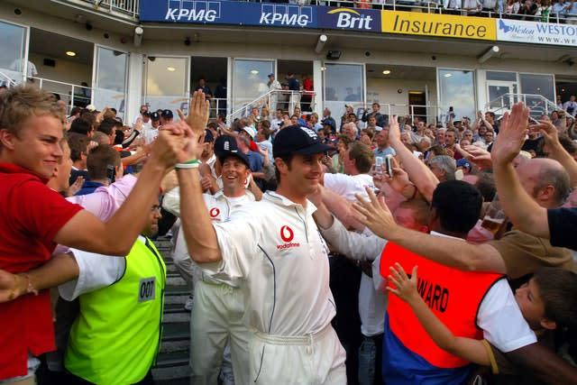 Fans celebrate with England captain Michael Vaughan in 2005 (Rui Vieira/PA)