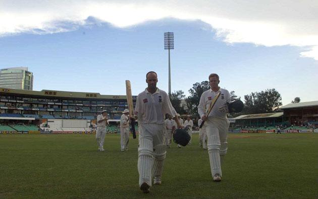 30 Dec1999:  Gary Kirsten of South Africa walks off the field after his match saving innings during the third test match at Kingsmeade in Durban, South Africa. Mandatory Credit: Laurence Griffiths/ALLSPORT