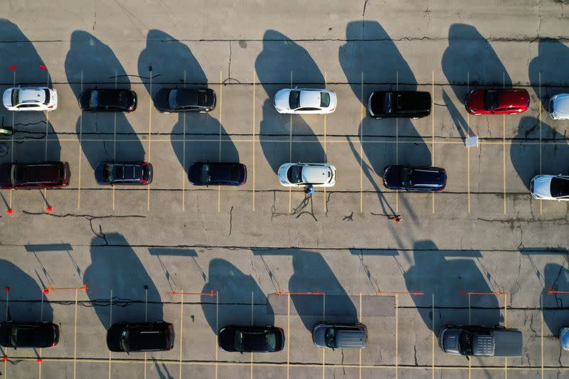 FILE PHOTO: FILE PHOTO: Aerial view of drive-thru COVID-19 testing site at Miller Park