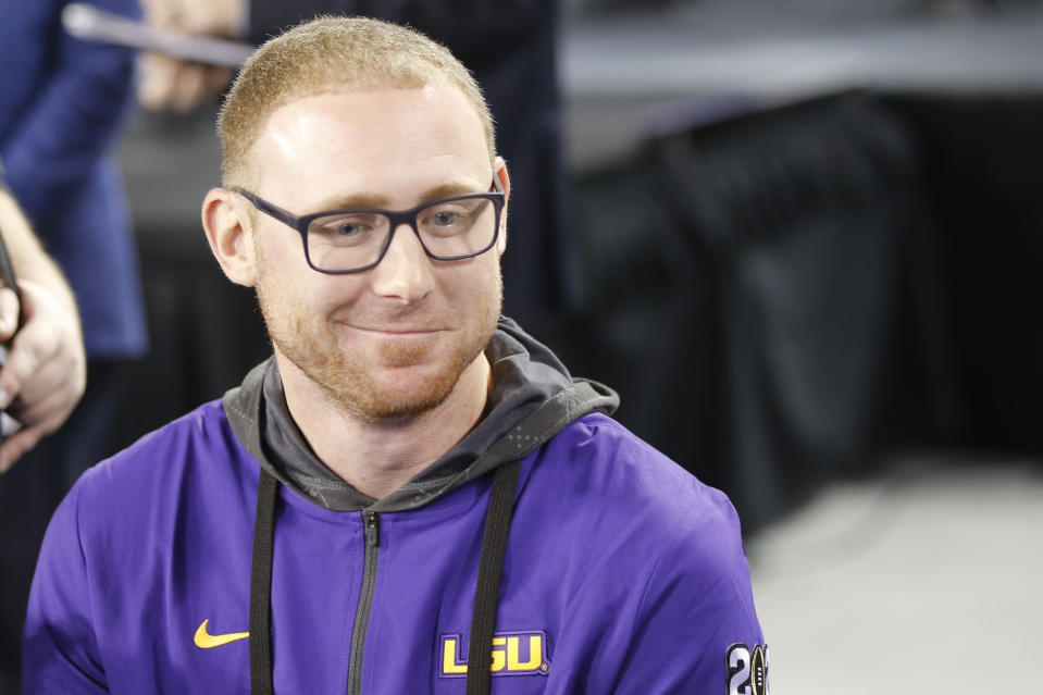 LSU passing game cordinator Joe Brady speaks during media day for NCAA College Football Playoff national championship game Saturday, Jan. 11, 2020, in New Orleans. Clemson is scheduled to play LSU on Monday. (AP Photo/Gerald Herbert).