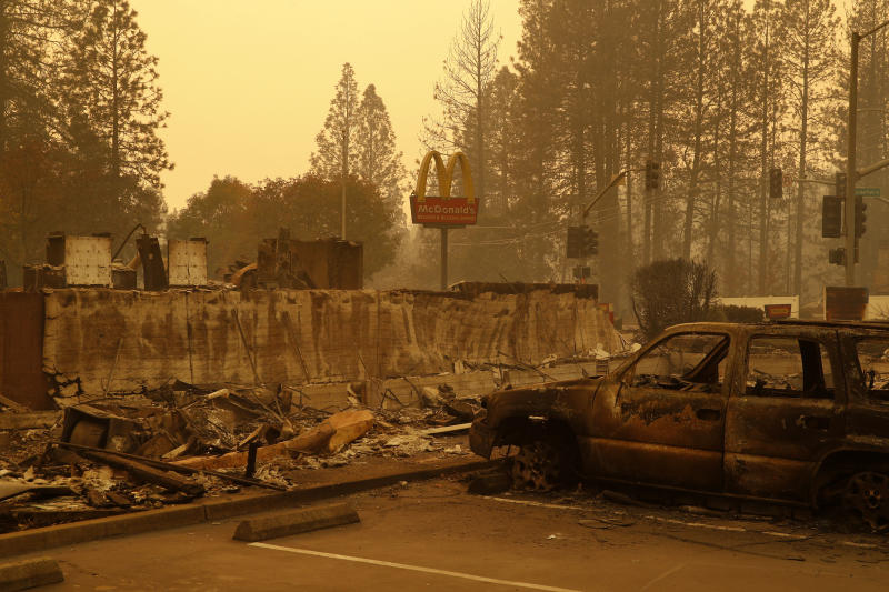 A sign still stands at a McDonald's restaurant Monday after it was burned in the Camp fire in the Northern California town of Paradise. (Associated Press)