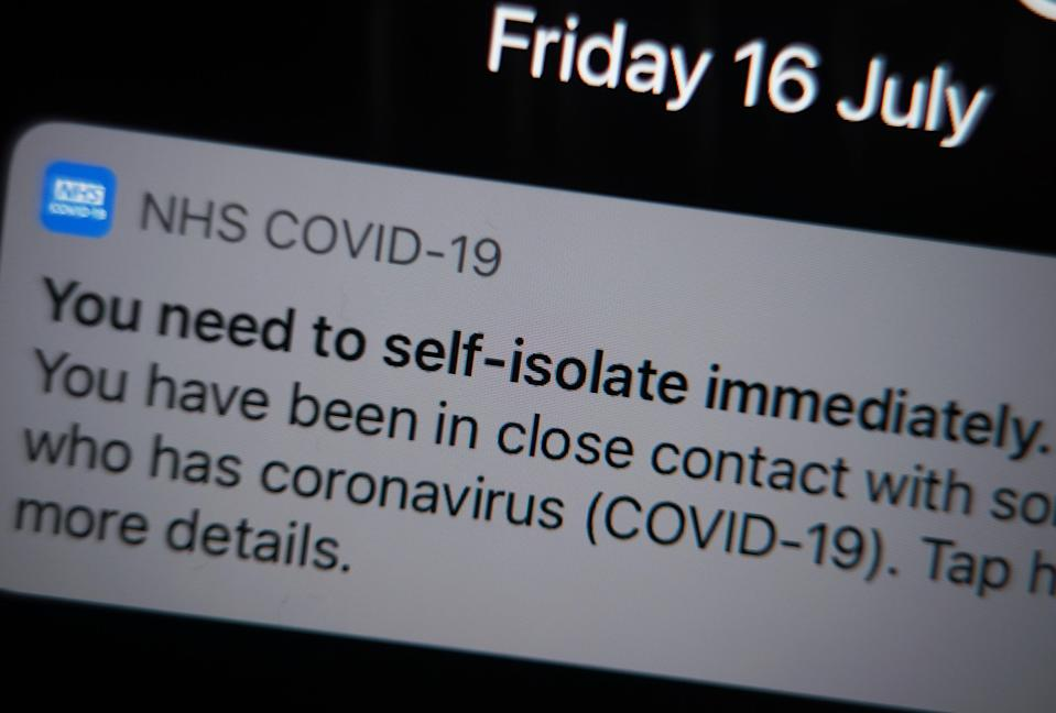 No 10 said the NHS Covid-19 app is working correctly and will not have its sensitivity reduced (Yui Mok/PA) (PA Wire)