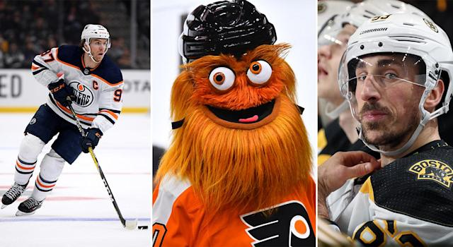 Connor McDavid, Gritty and Brad Marchand were just some of the many characters that made a splash in the 2019-20 NHLPA Player Poll. (Getty Images)