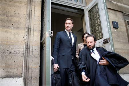 """Former All Blacks rugby player Alexander """"Ali"""" Williams, who is charged with purchasing cocaine in February while a player for French club Racing 92, leaves the courthouse in Paris, France, April 5, 2017. REUTERS/Charles Platiau"""