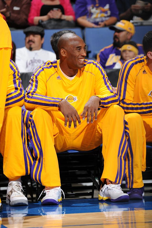 ONTARIO, CA - OCTOBER 8: Kobe Bryant #24 of the Los Angeles Lakers sits on the bench during the game against the Denver Nuggets at Citizens Business Bank Arena on October 8, 2013 in Ontario, California. (Photo by Andrew D. Bernstein/NBAE via Getty Images)