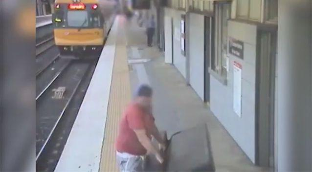 He leaves the lounge on the platform for some time. Photo: Facebook / Queensland Rail