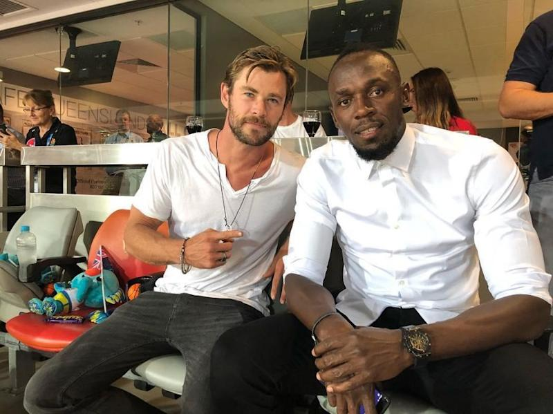 Chris and Usain enjoying some downtime at the Comm games. Source: Instagram/usainbolt