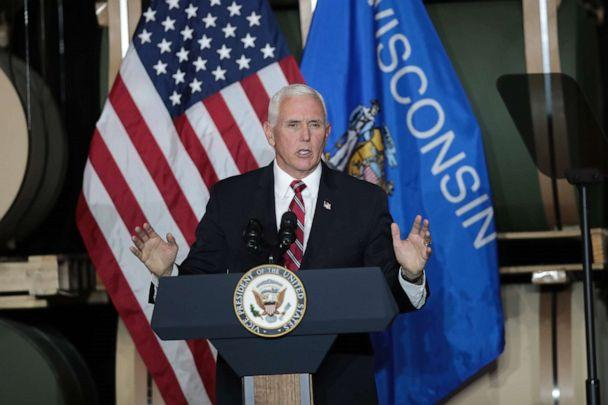 PHOTO: Vice President Mike Pence speaks to workers at Tankcraft Corporation on Aug. 19, 2020, in Darien, Wis. The visit comes a day after President Donald Trump's son Eric visited the state and two days after the president visited the state. (Scott Olson/Getty Images)