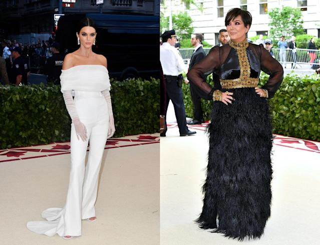 Kendall Jenner and Kris Jenner on the 2018 Met carpet. (Photo: Getty Images)