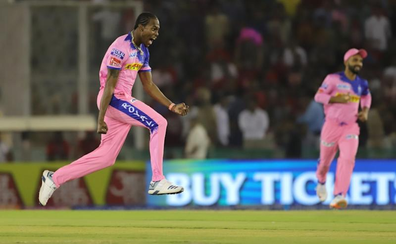 Jofra Archer of Rajasthan Royals celebrates the wicket of Chris Gayle of Kings XI Punjab during match 32 of the Vivo Indian Premier League Season 12, 2019 between the Kings XI Punjab and the Rajasthan Royals held at the IS Bindra Stadium, Mohali on the 16th April 2019 Photo by: Deepak Malik /SPORTZPICS for BCCI