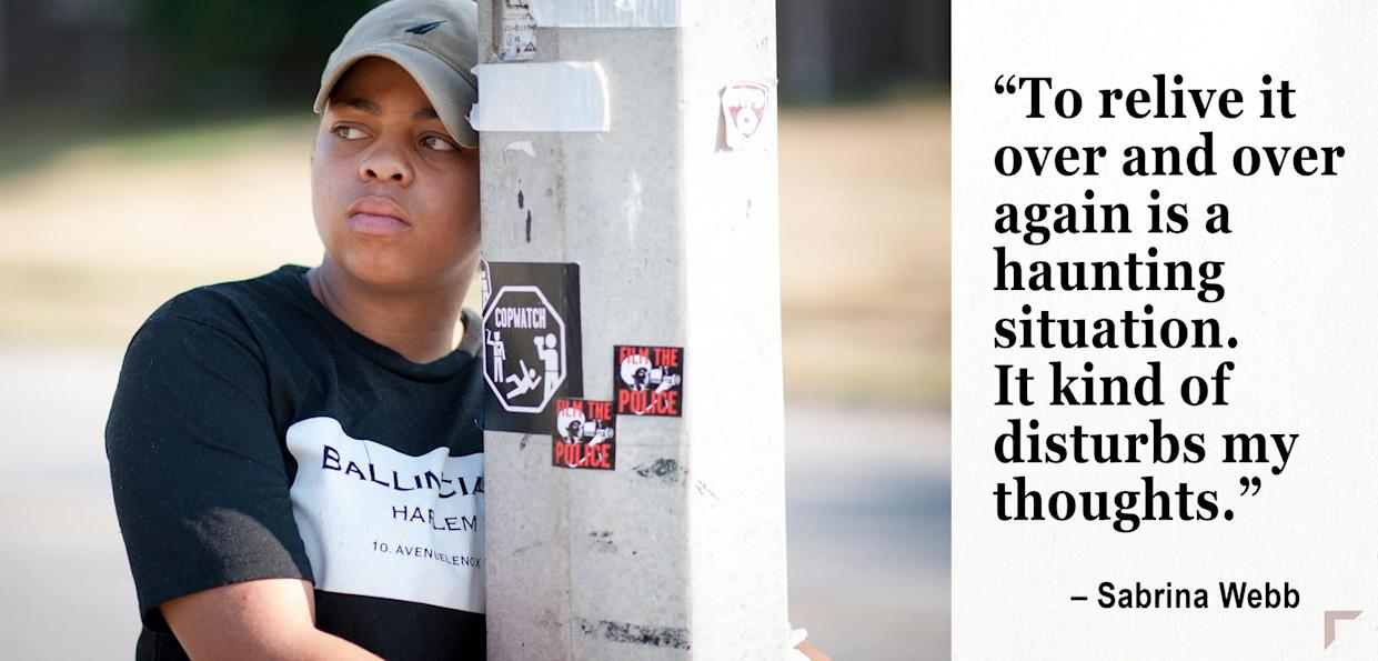 Sabrina Webb on the street where her cousin, Michael Brown was killed. (Photo: Michael Thomas for Yahoo News)