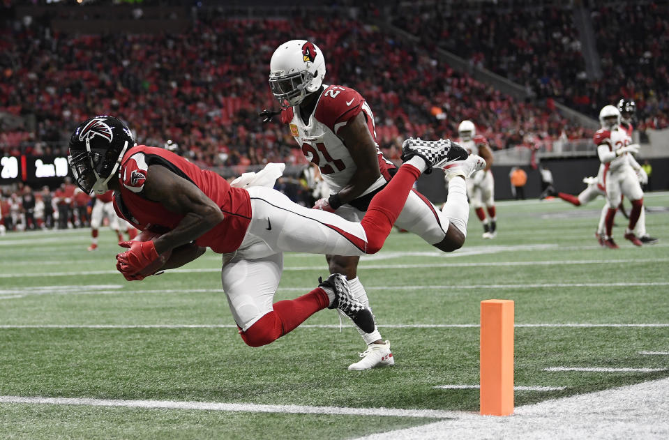 Julio Jones finally broke his TD drought in 2018. (AP Photo/Danny Karnik)