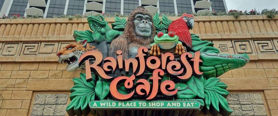 ATLANTIC CITY, NJ -1 APR 2018- View of the Rainforest Cafe restaurant on the boardwalk in Atlantic City, a vacation town on the Jersey Shore known for its gambling casinos and hotels.