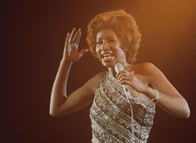 <p>The Queen of Soul doing what she does best, in 1967. (Rex) </p>