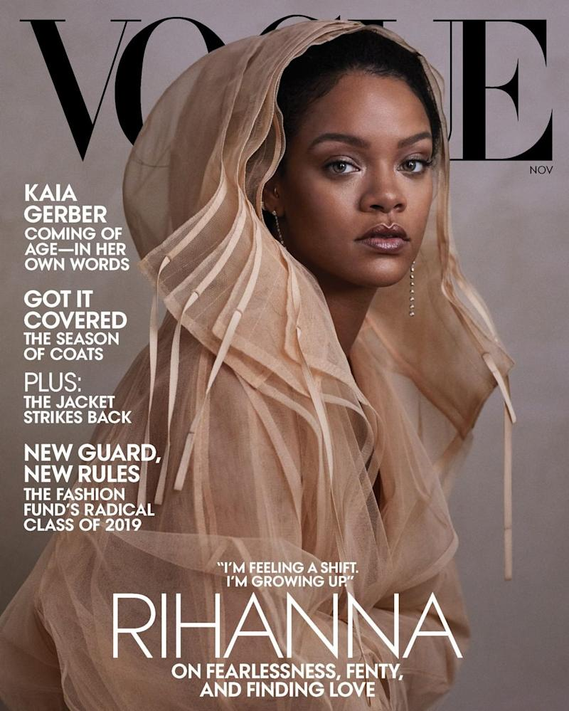 Rihanna stars on the November 2019 cover of Vogue, where she opens up about her fears as an immigrant. (Photo: Vogue)