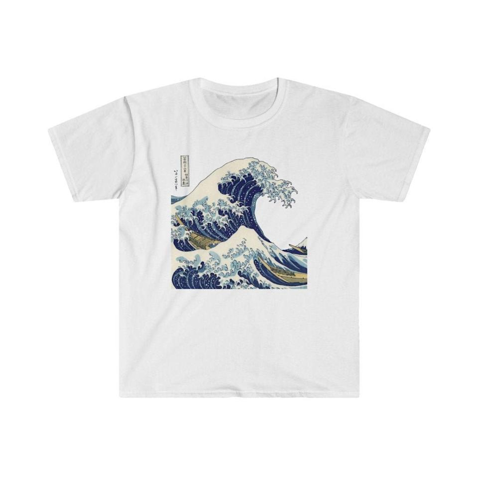 <p>They can go with the flow in this cool <span>Japanese The Great Wave Off Kanagawa Vintage Graphic Tee</span> ($15).</p>