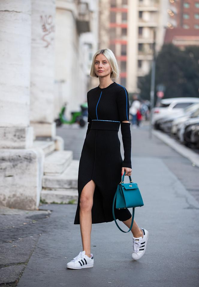 <p>Style a classic pair with a knit sweater dress and a top-handle bag for a chic, everyday look.</p>