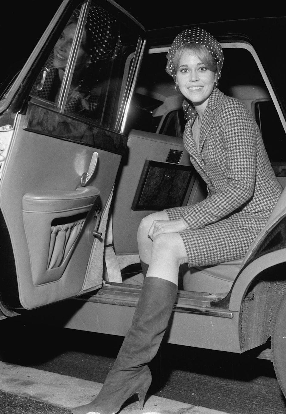 <p>Jane Fonda getting out of her car at London airport (now Heathrow). 23rd January 1965. </p>