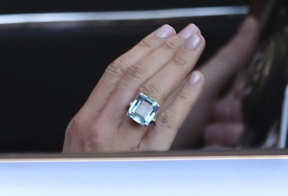 The image shows a close up of the ring worn by the newly married Duchess of Sussex, Meghan Markle.