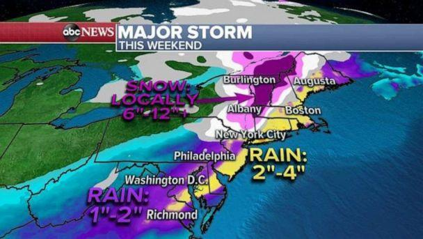 PHOTO: This storm will strengthen as it moves Northeast into the I-95 corridor Friday evening spreading the heavy rain into the area Friday night into Saturday morning with gusty winds also expected 30 to 50 mph. (ABC News)